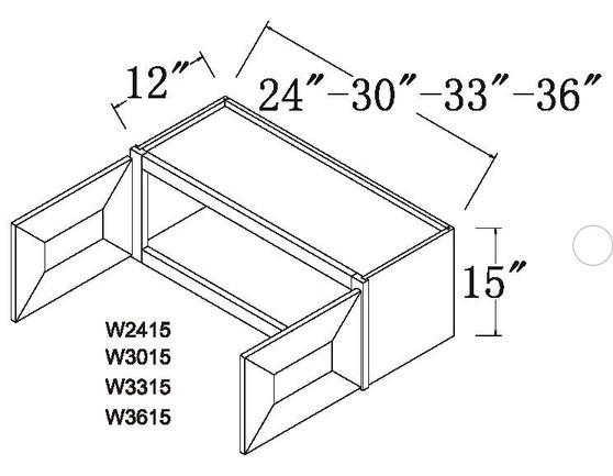 """Standard Wall Cabinet 2 Door 15"""""""