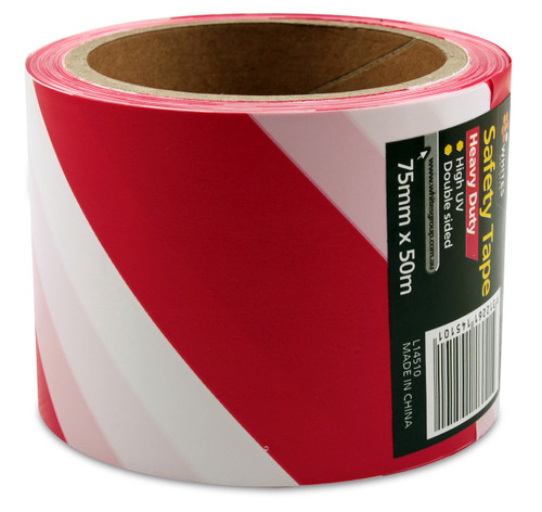 Red/White Caution Tape 50mm x 16.5m Canterbury Timber