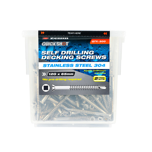 Screw Self Drilling Decking 304SS Sq Box 500