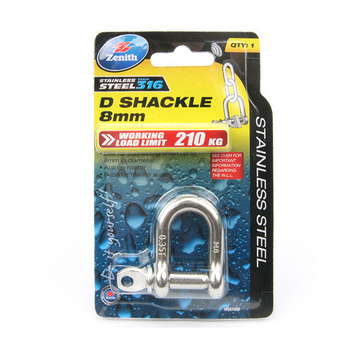 Buy Zenith Stainless Steel D Shackle - Various Sizes at Canterbury Timbers