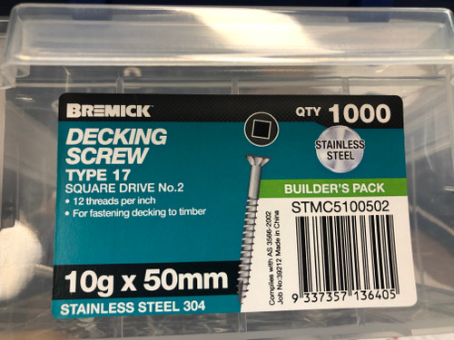 Canterbury Timber Buy Timber Online  Deck Screw SS304 Square Drive #2 10gx50mm Box of 1,000 136405