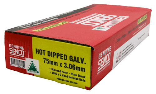 Buy Senco HC27APB 75mm x 3.06mm Galvanised Strip Nails Box 3,000 Online at Canterbury Timbers