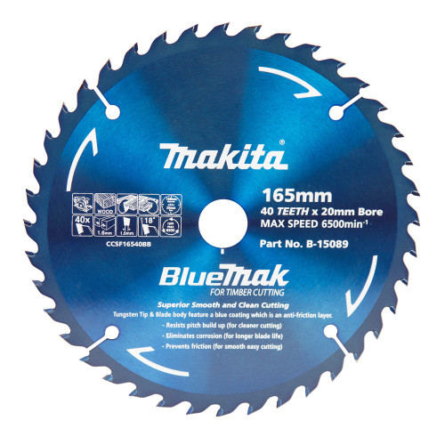 Makita BlueMak 165mm 40T Saw Blade