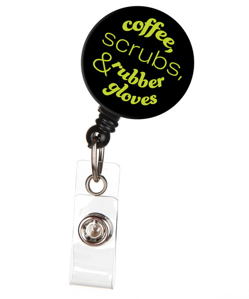 Coffee, Scrubs & Rubber Gloves Badge Reel