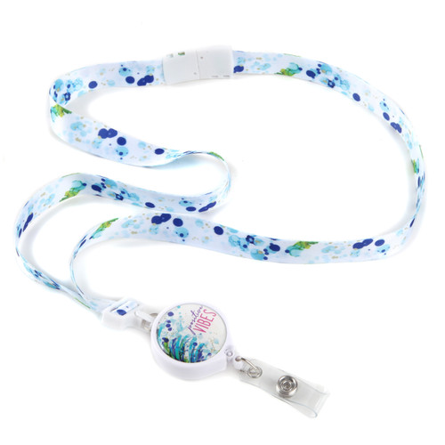 Positive Vibes Ribbon Lanyard with Detachable Reel