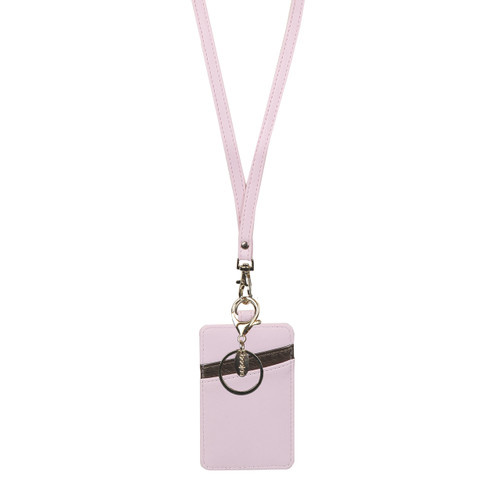 Bubblegum Pink and Bronze Wallet Lanyard with Keyring