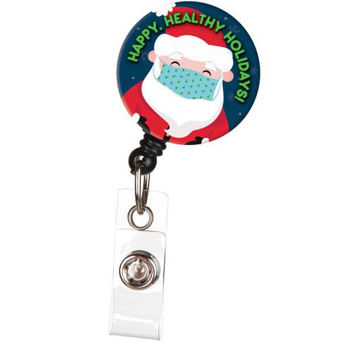 Happy Health Holidays Santa with Mask Badge Reel
