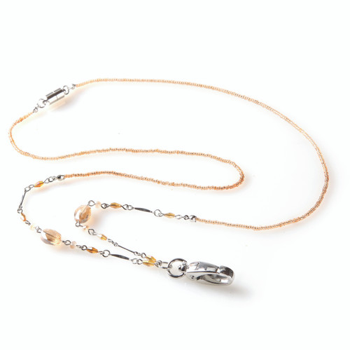 ID Avenue Pia Silver Chain Lanyard with Gold Beads