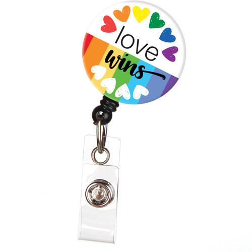 Love Wins LGBTQ Rainbow Heart Badge Reel