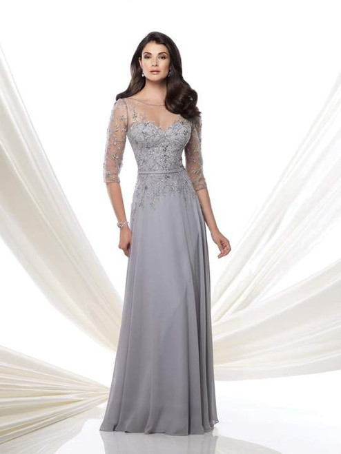 3/4 Sleeve Embroided Gown