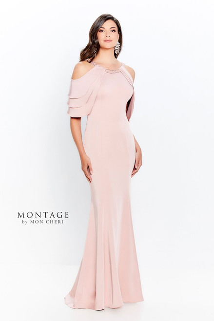 Cold Shoulder Beaded Neck Gown