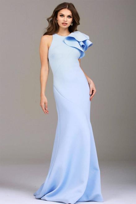 Scuba - Ruffle Shoulder Gown