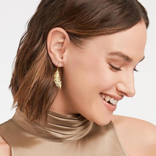 Gold Fern Leaf Earring