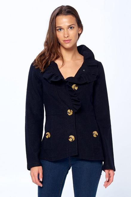 Short Ruffle Detail Coat