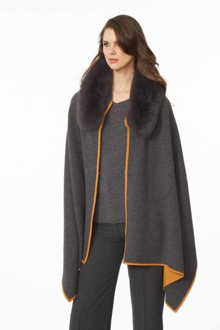 Fox Fur Double Face Knit Wrap