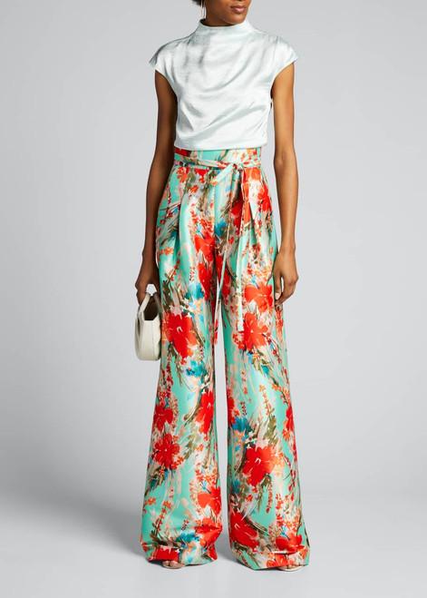 Floral Mikado Wide-leg Pants