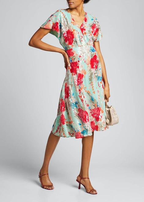 Print Sequin Cocktail Dress