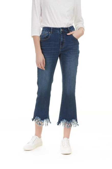 Stretch Denim Frayed Jean