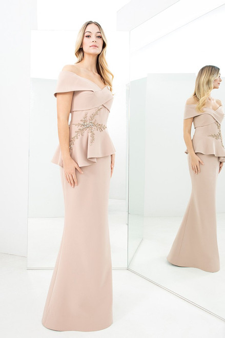 Peplum Off the Shoulder Gown