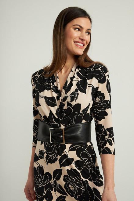Floral Sheath Dress with Belt
