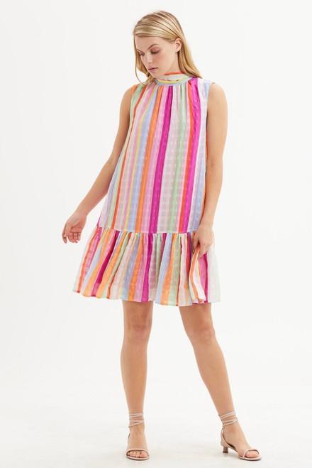 Ali Flounce Dress Pastel Strip