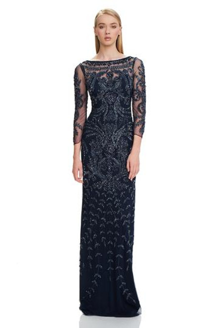 Navy Heavy Beaded Mob Gown