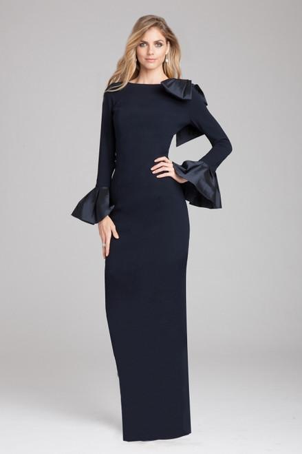 Bow Shoulder Taffeta Cuff Gown