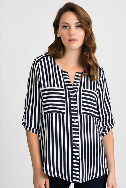 3/4 Sleeve Stripe Blouse