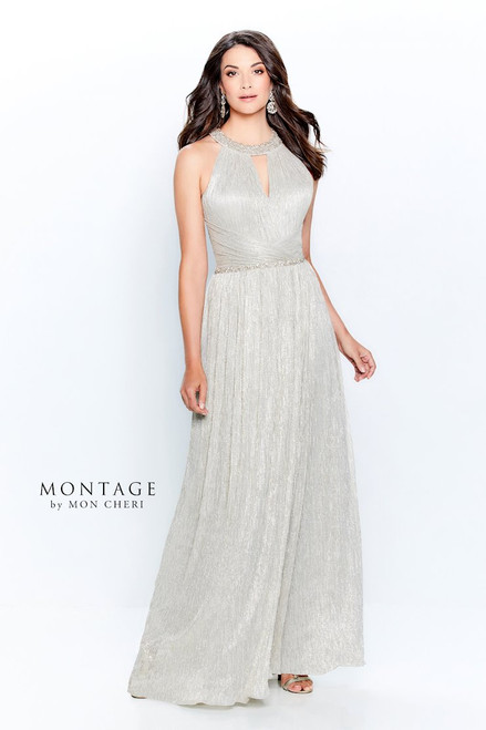 Key Hole Beaded Neck Gown