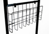 """Upright wire collateral and literature basket cleanly attaches to poster stands and holds letter size 8.5""""w x 11"""" collateral such as menus, ads  and catalogs."""