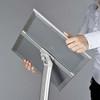 """Aluminum Curved Pedestal Sign Holder & Menu Stand - 8.5""""w × 11""""h Snap Frame - SiIver"""