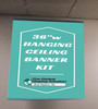 "Ceiling Banner Display with Hanging Rings, chords and ceiling hooks - 36""w gripper-"