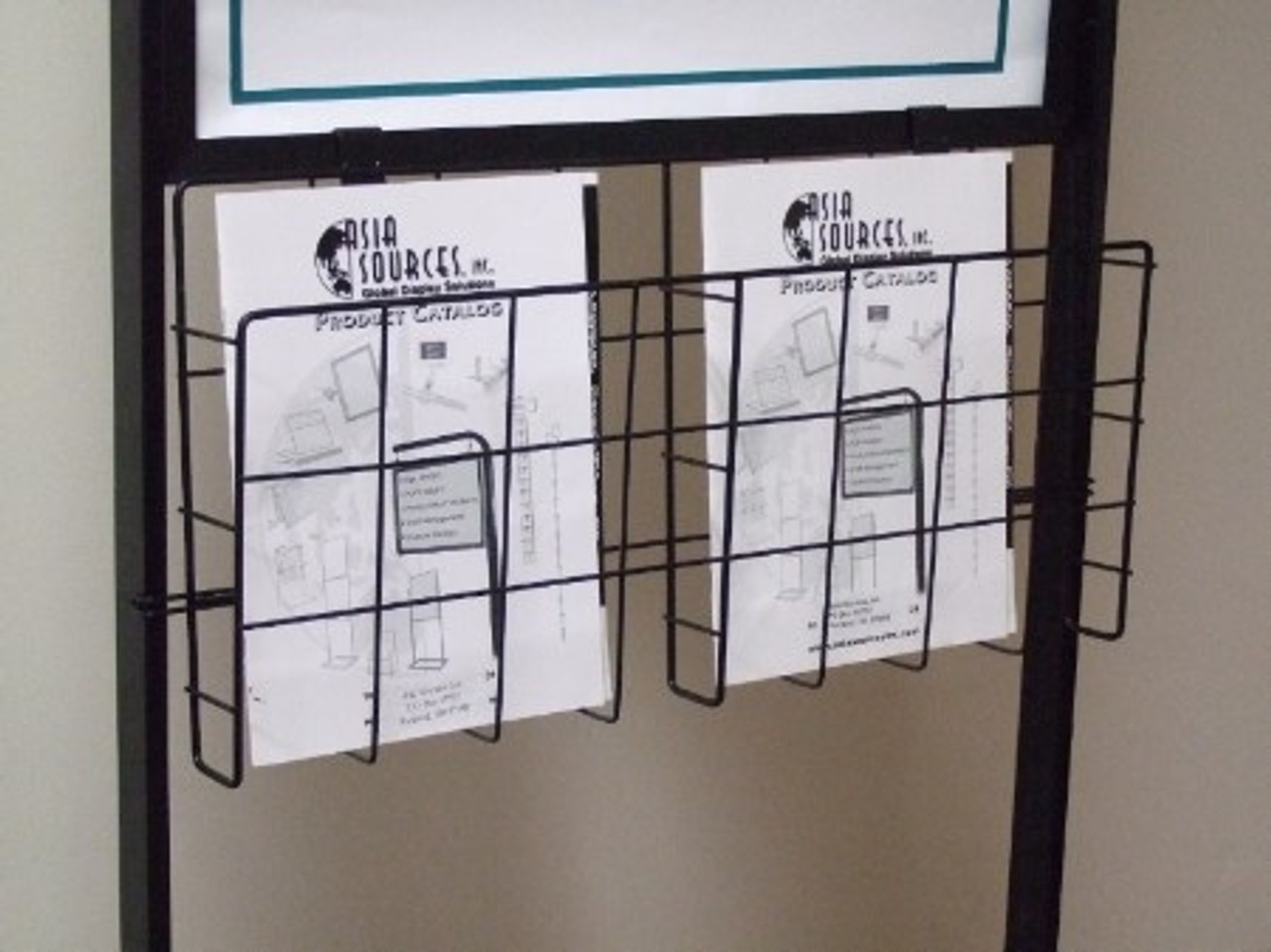 Upright Wire Basket Literature Holder - Attaches to Econo and Premium Poster Stands - Black Finish