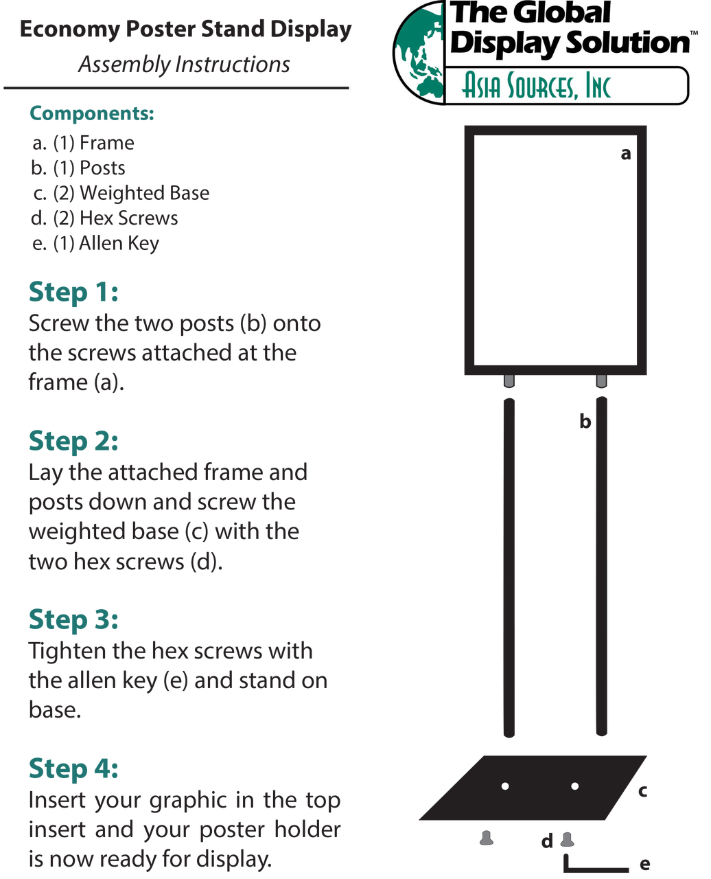 Instructions for poster stand