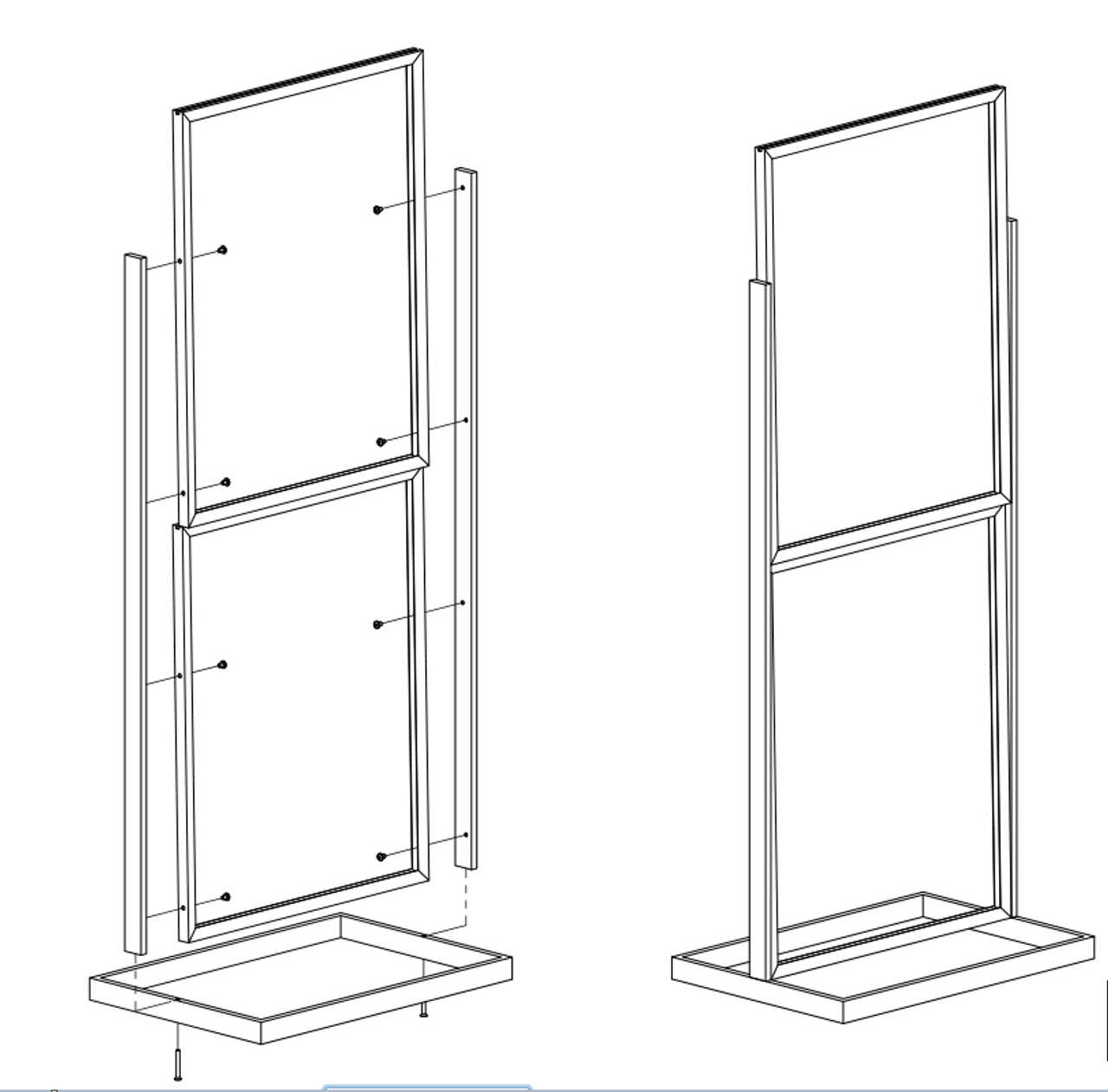 """Two-Tier Poster Stand Display - Black  - 22""""w x 28""""h 1/Pack"""