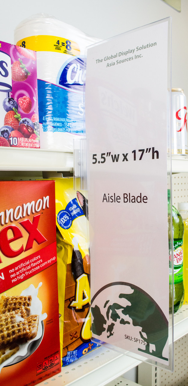 "Blade sign holder displays 5 1/2"" x 17"" signs along retail store shelves. Display signs vertically or horizontally.  Your message is sure to be seen with this giant sign protector.  Our Aisle invaders help retailers highlight specific brands, sales, and specials."