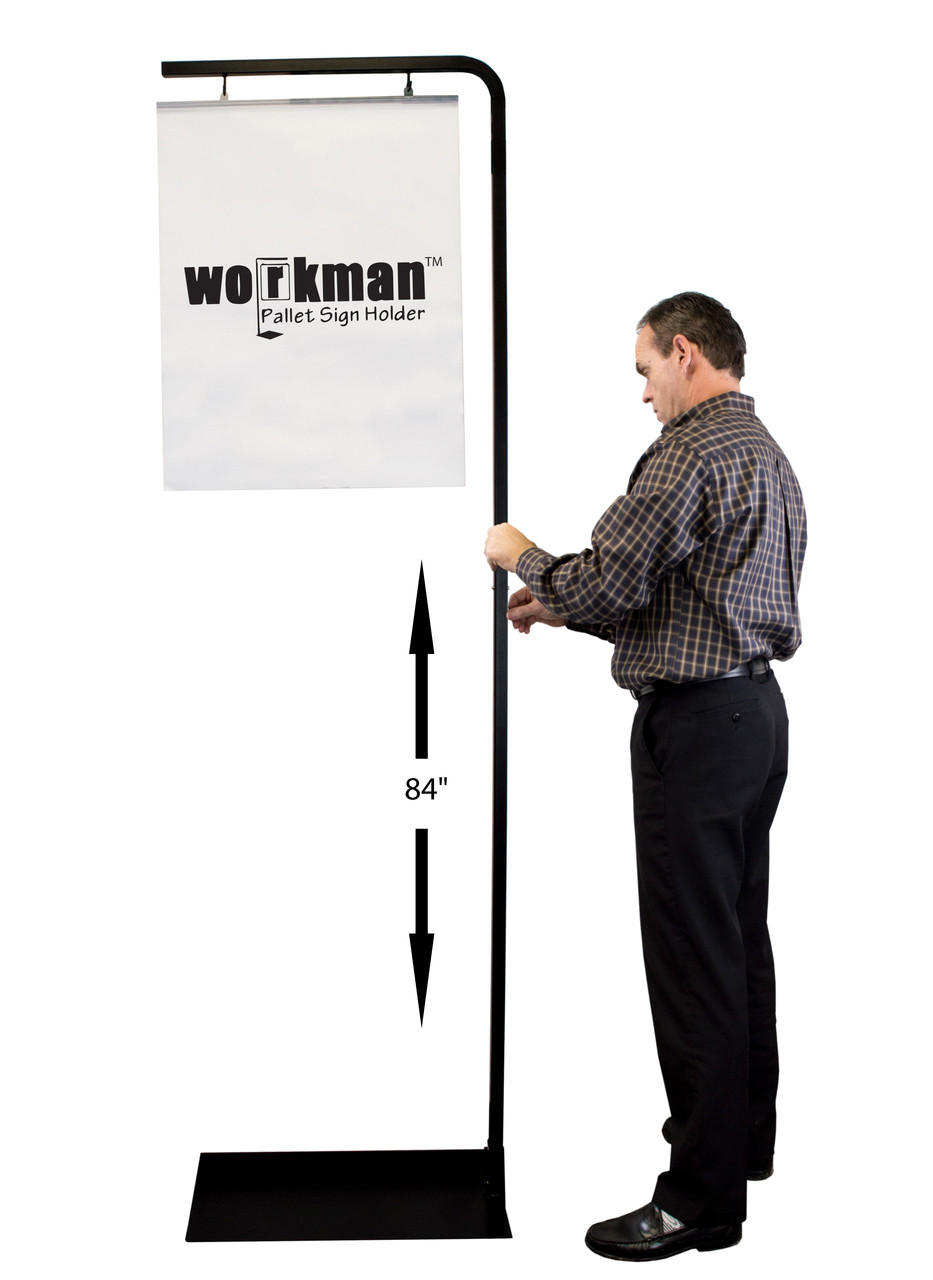 """Super Workman Pallet Sign Holder with adjustable height made from steel with black powder coat finish.  Adjustable to (3) heights: 84""""h, 72""""h, 60""""h"""