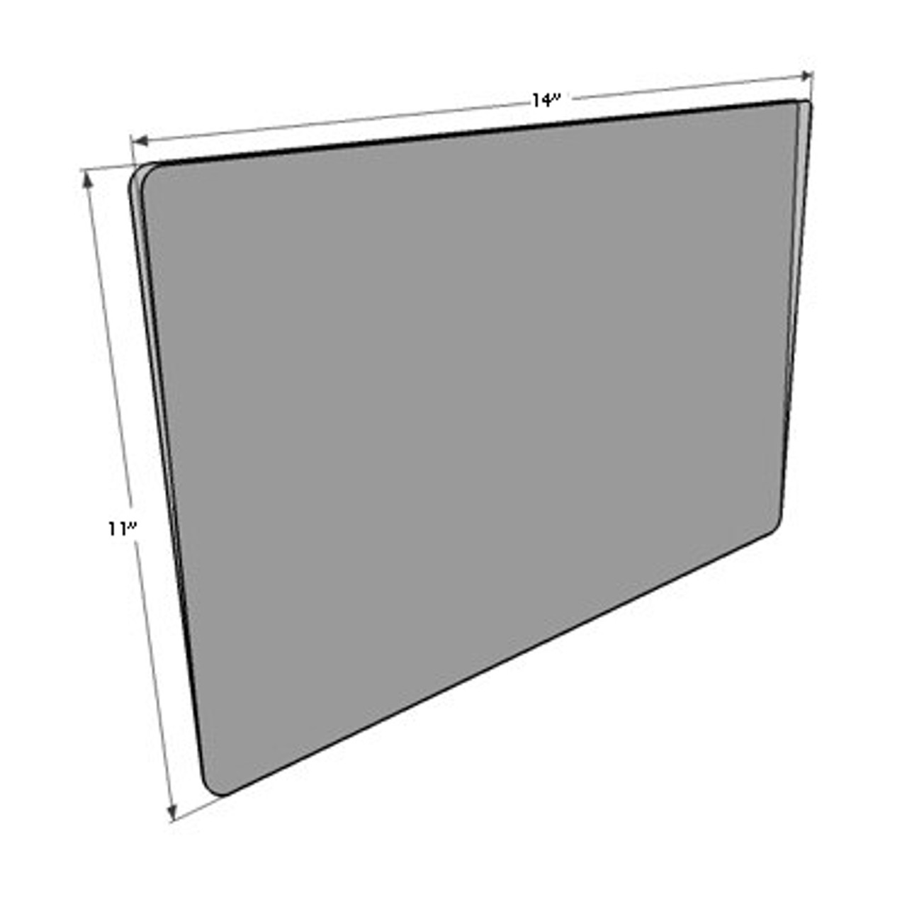 """Sign protector open on three sides - 14""""w x 11""""h - drawing with dimensions"""