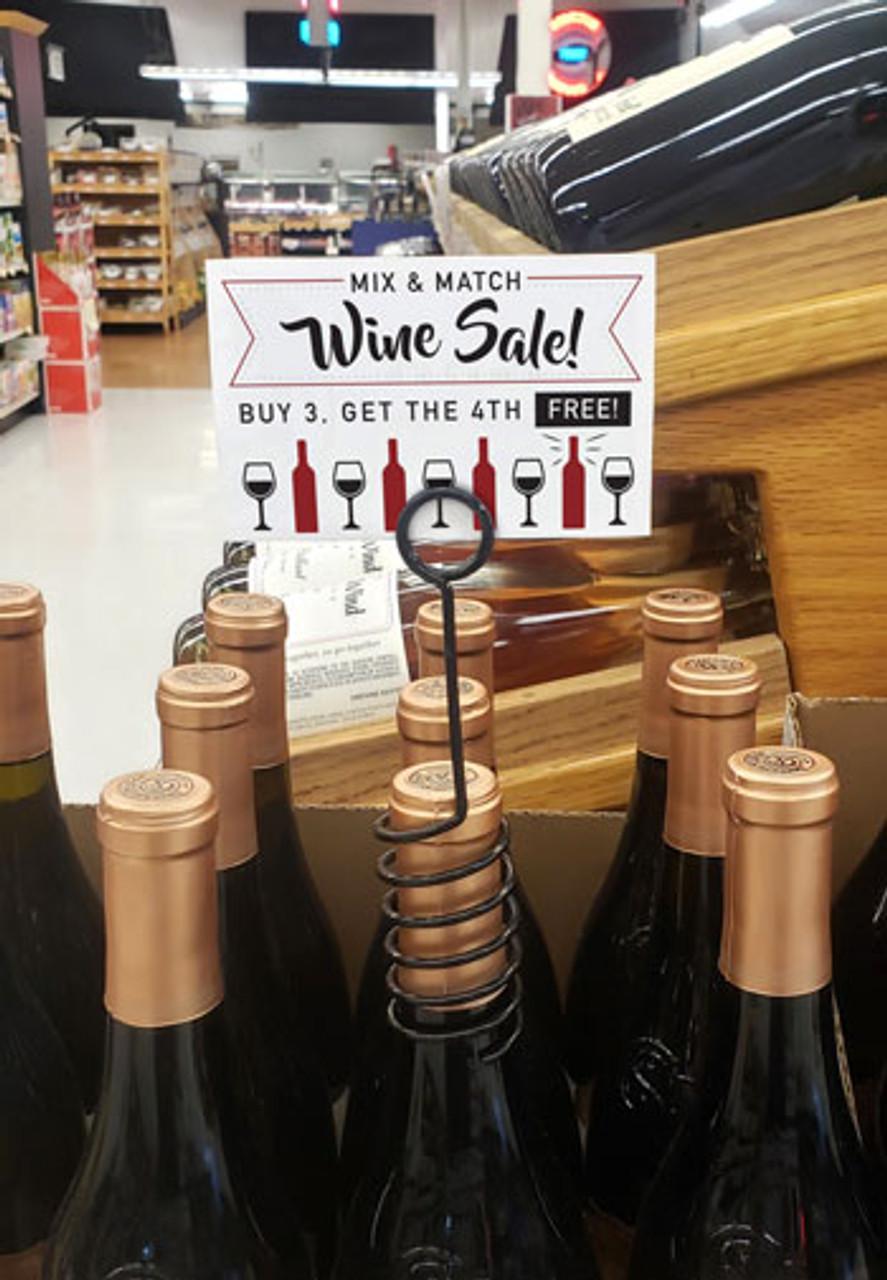 Bottle Talker for elegantly displaying promotional labels and signs.