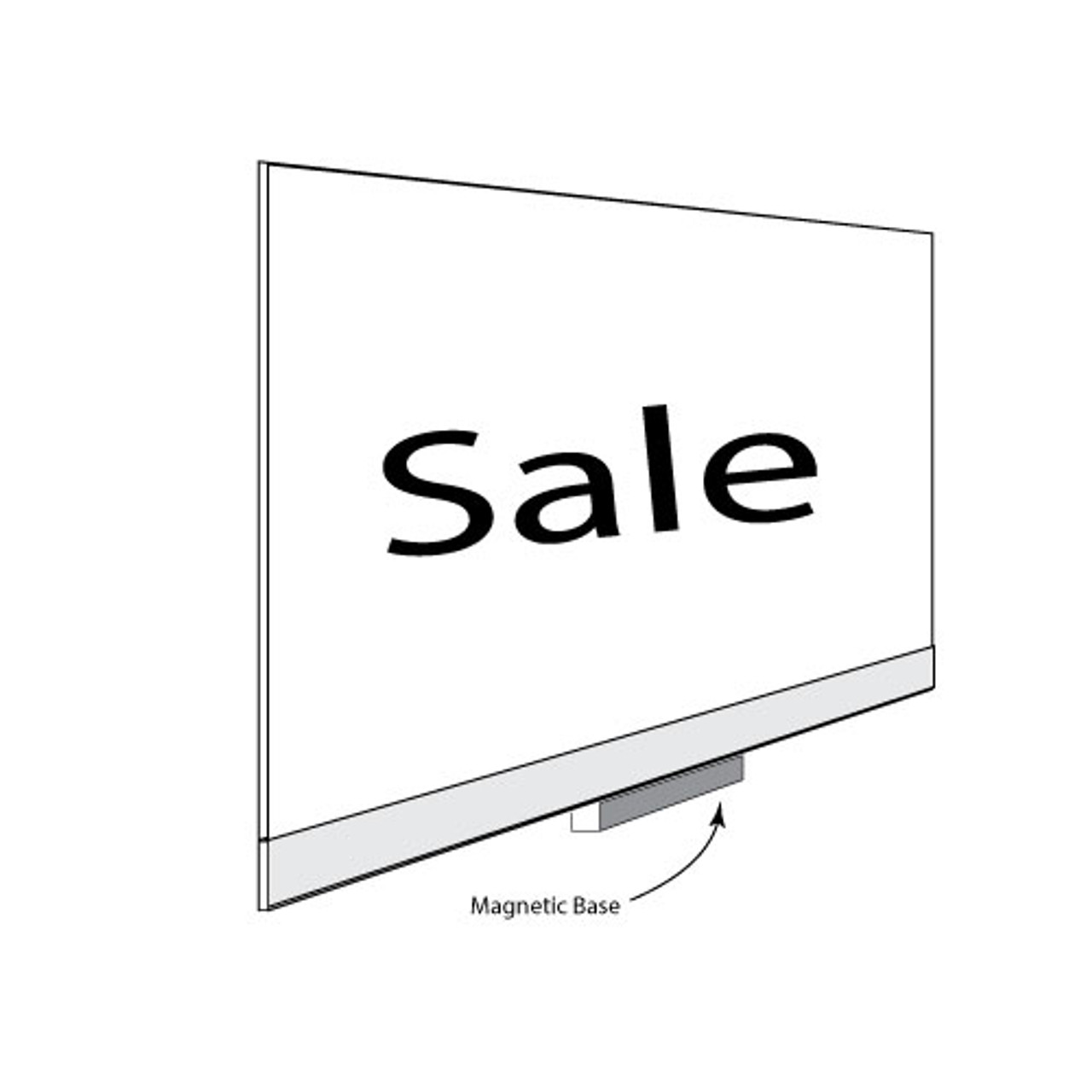 """Acrylic Sign Holder With Magnetic Base - 11""""w  x 7""""h  12/Pack"""