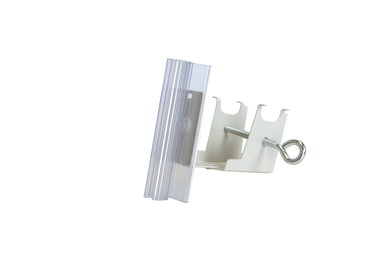 Under shelf bracket securely locks into retail shelf perforations.  Use the bolt to tighten hardware into place