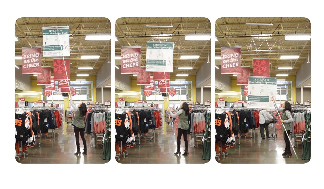 Quickly and safely change ceiling banners without using dangerous ladders