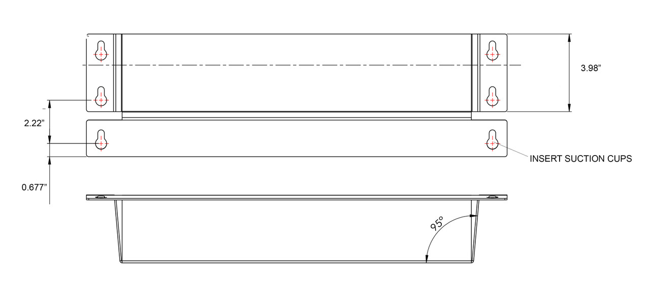"""Cooler Door Shelf with 6 Suction Cups - 18"""" x 3.5"""" x 6"""" DRAWING"""