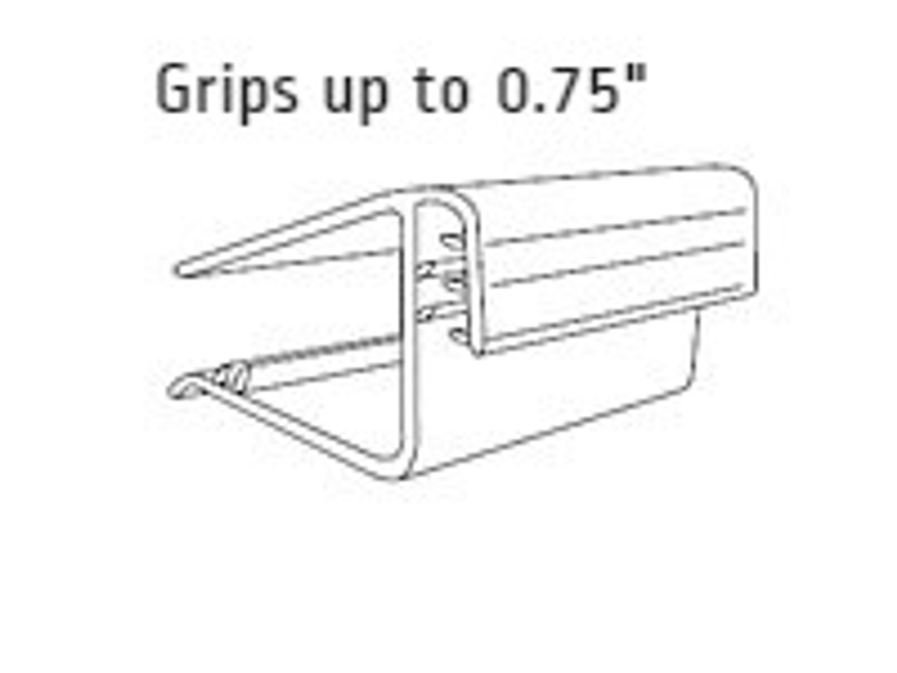 """Square Shelf Sign Holder-Grips 0.75""""-1""""Shelf - 1.5""""L-25/Pack"""