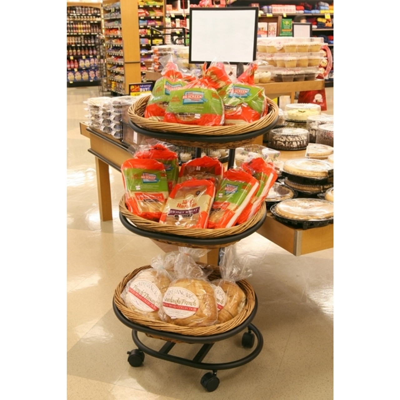 Willow Basket Floor Display Rack - (3) Shelves - Rolling Wheels