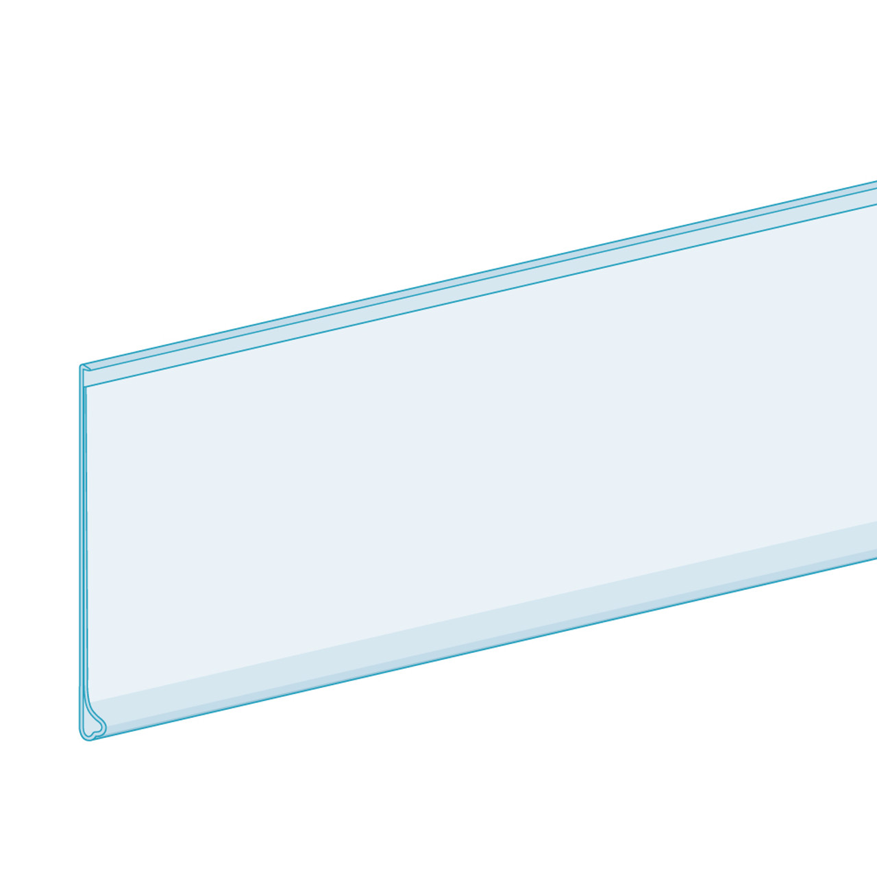 """Price Tag Molding Ticket Holder  - W/ Adhesive -  Clear - 2""""H x 48""""L 100/PACK"""