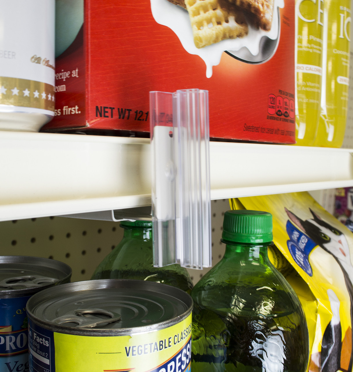 "Bracket hardware with 3"" sign gripper attaches securely below retail shelving such as Lozier and Maddix with perforations"