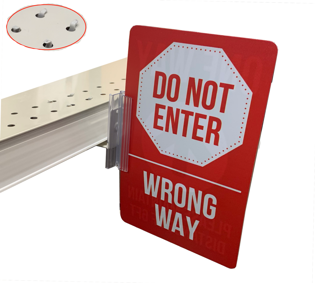 Do not Enter sign and Sign gripper kit for displaying on grocery and supermarket shelves