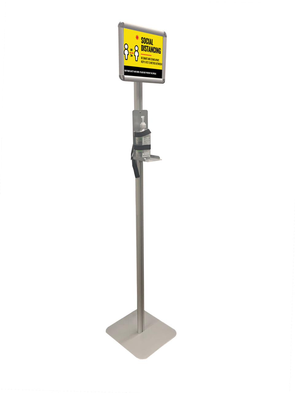 "Sanitizer Dispenser Stand With Sign Holder - 8.5"" x 11"" Insert"