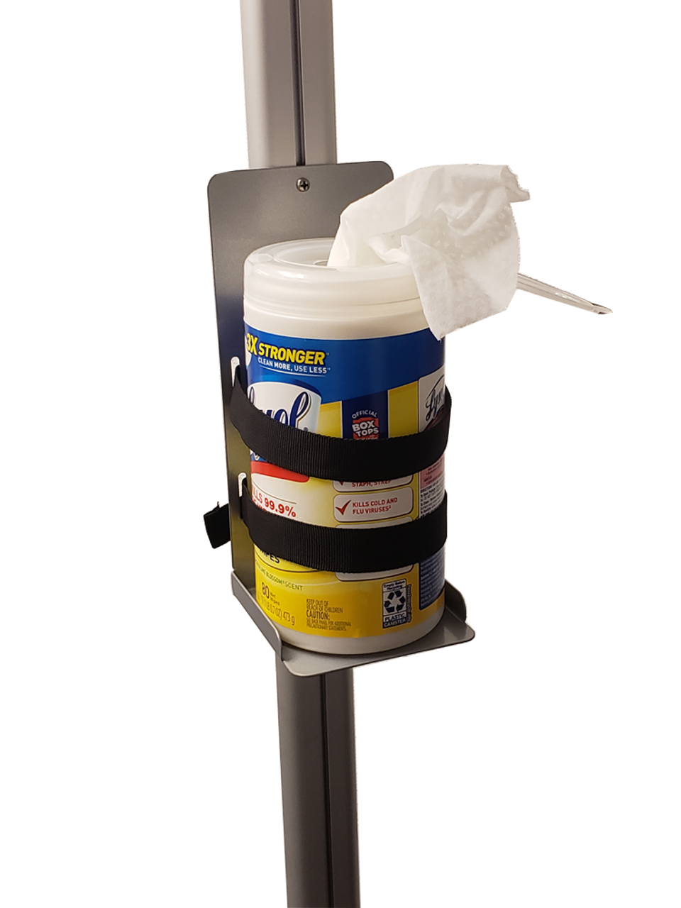 Shelf works great for dispensing cleaning wipes at retail store entrances and at facilities.